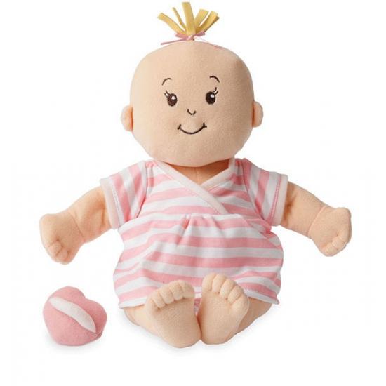Stoffen pop baby met roze shirt en groen broekje