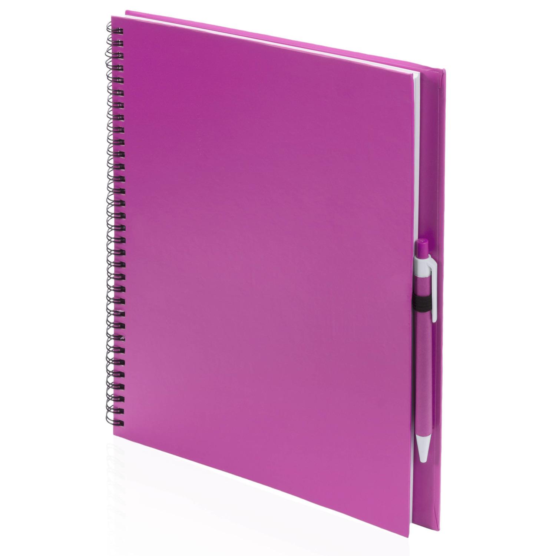 Tekenboek roze met pen