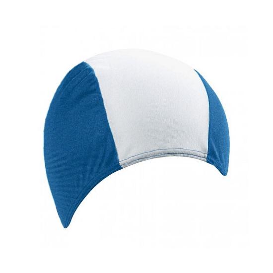 Textiel badmuts voor volwassenen blauw wit