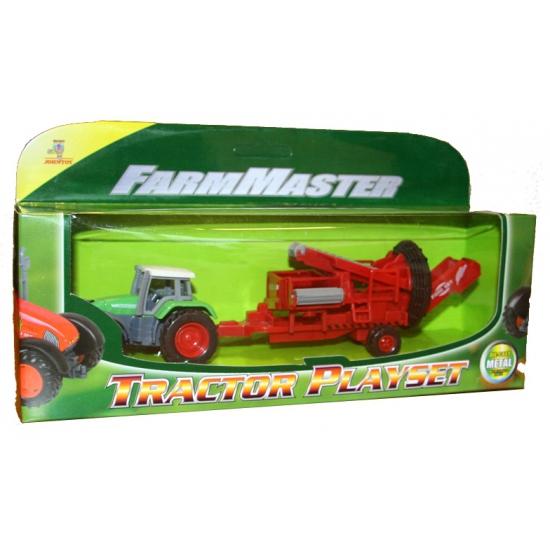 Tractor groen met groentesorteermachine