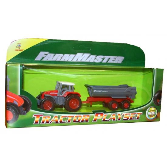 Tractor rood met oplegger
