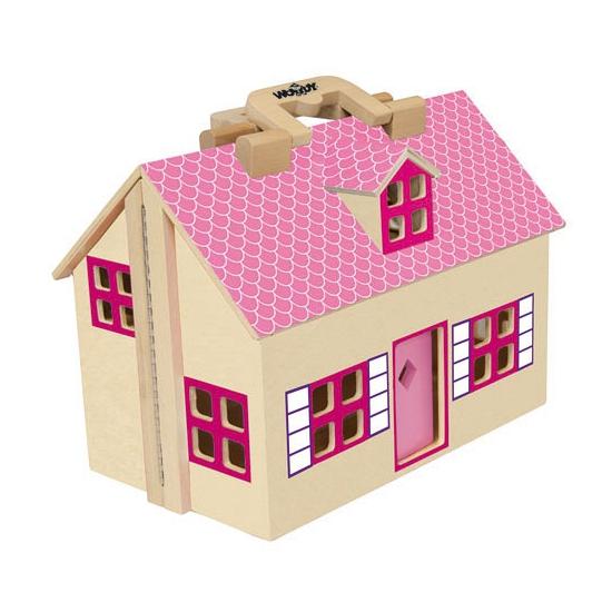 Uitvouwbaar poppenhuis roze van hout
