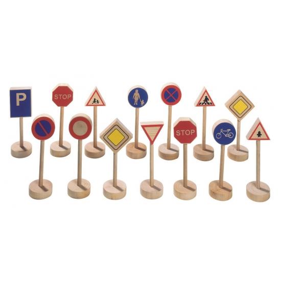 Verkeersbordjes van hout 15 stuks