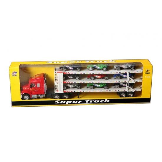 Vrachtwagen met 9 race autos