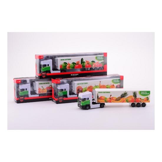 Vrachtwagen met fruit oplegger