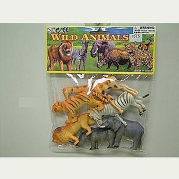 Wilde dieren van plastic zes stuks
