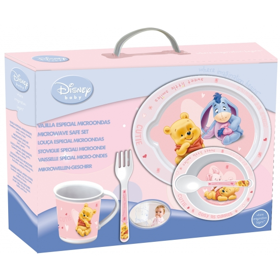 Winnie de Poeh kinder servies roze