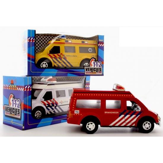 Wit speelgoed politie busje