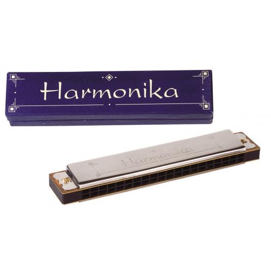 Zilverkleurige mondharmonica in houten doosje