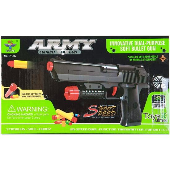 Zwart speelgoed pistool met zachte kogels