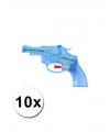 10 transparant waterpistolen blauw 13 cm