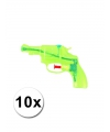 10 transparant waterpistolen groen 13 cm