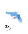 3 transparant waterpistolen blauw 13 cm