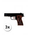 3 zwarte waterpistolen 15 cm