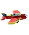 Blikken vliegtuigje rood met geel 11 cm