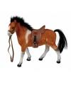 Bruin paard met zadel 23 cm