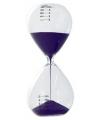 Glazen zandloper paars 5 minuten