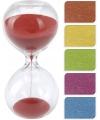 Glazen zandloper rood 8 minuten