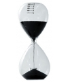 Glazen zandloper zwart 5 minuten