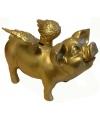 Goud spaarvarken met vleugels 25 cm
