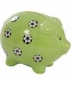 Groen spaarvarken met voetballen 9 cm