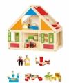 Houten poppenhuis met accessoires