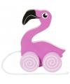 Houten trekdiertje flamingo 13 cm