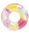 Intex zwemband geel roze met bloemen 97 cm