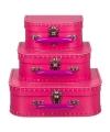 Kinderkoffertje fuchsia roze16 cm