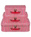 Kinderkoffertje rood met witte strepen 25 cm