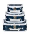 Koffertje donkerblauw ster 16 cm