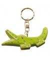 Krokodil sleutelhanger van hout