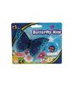 Mini lichtblauwe vlinder vlieger 15 cm