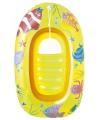 Opblaasbaar bootje met doorzichtige bodem geel