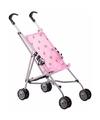 Poppen buggy roze 59 cm met stippen