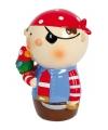 Rode piraat spaarpot 14 cm