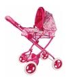 Roze poppen wandelwagen met bloemen
