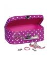 Roze sieradenkoffer met stippen 25 cm