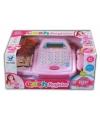 Roze speelgoed kassa met digitaal display