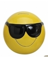 Smiley spaarpot met zonnebril 13 cm