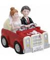Spaarpot bruidspaar in auto 15 cm
