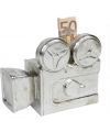 Spaarpot filmcamera zilver