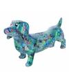 Spaarpot hond teckel 19 cm blauw