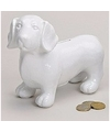 Spaarpot hond teckel wit 20 cm