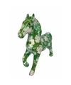 Spaarpot paard 21 cm groen bloemen