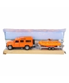 Speelauto oranje land rover met reddingsboot
