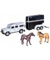 Speelauto zilveren land rover met paardentrailer