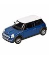 Speelgoed blauwe mini cooper auto 11 cm
