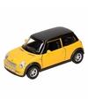 Speelgoed gele mini cooper auto 11 cm
