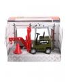 Speelgoed heftruck hijshaak groen 17 cm